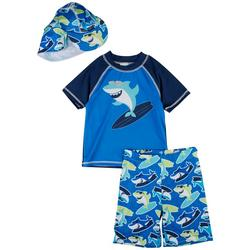 Toddler Boys Surf Shark Short Sleeve Rashguard Set