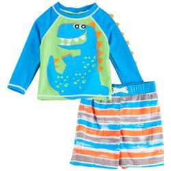 Sol Swim Baby Boys Dino Stripe Long Sleeve Rashguard Set