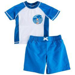 Sol Swim Toddler Boys Water Reactive Rashguard Set