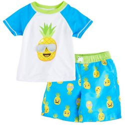 Sol Swim Toddler Boys Pineapple Short Sleeve Rashguard Set