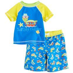 Sol Swim Toddler Boys Turtley Short Sleeve Rashguard Set
