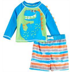 Toddler Boys Dino Stripe Long Sleeve Rashguard Set