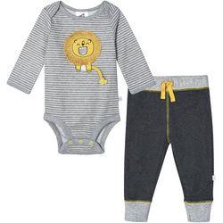 Baby Boys Organic Striped Lion Bodysuit Set