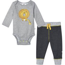 Baby Boys Organic Striped Lion Bodysuit Set