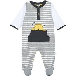 Just Born Baby Boys Organic Striped Lion Footie