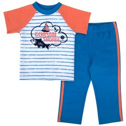 Sunshine Baby Baby Boys Coastal Shores Striped T-Shirt Set