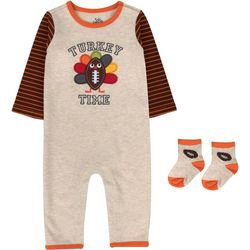 Baby Boys Turkey Time Jumpsuit & Socks Set