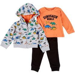 Baby Boys 3-pc. Dino Hoodie Set