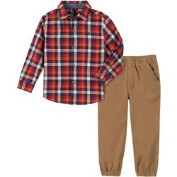 Toddler Boys Plaid Button Down Jogger Pants Set