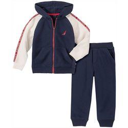 Nautica Baby Boys Fleece Zip-Up Raglan Hoodie Set