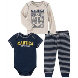 Baby Boys 3-pc. Striped Anchor Layette Set