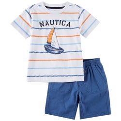 Nautica Baby Boys Striped Sailboat Tee & Solid Short Set