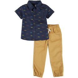 Little Rebels Toddler Boys 2-Pc. Car Pants Set
