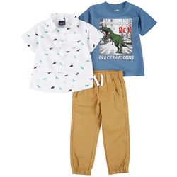 Little Rebels Toddler Boys 3-Pc. T-Rex Pants Set