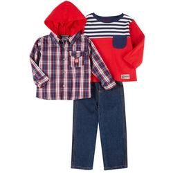 Toddler Boys 3-pc. Flannel Jeans Set