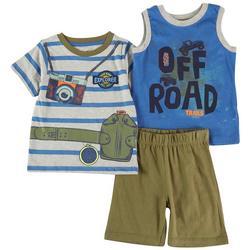 Toddler Boys 3-pc. Off Road Shorts Set