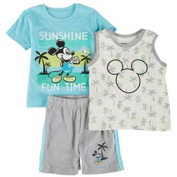 Mickey Mouse Toddler Boys 3-pc. Sunshine Fun Time Short Set