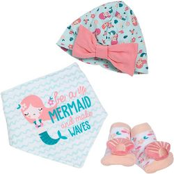 Baby Girls 3-pk. Mermaid Bib & Socks Set