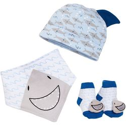Baby Gear Baby Boys 3-pk. Shark Bib & Socks Set