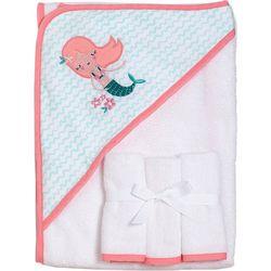 Baby Girls Mermaid Hooded Towel With Washcloths