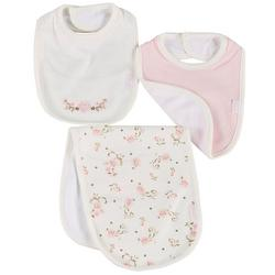 Baby Girls 3-pk. Floral Bib & Burp Set