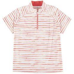 Coral Bay Golf Petite Orange Stripes Polo Shirt
