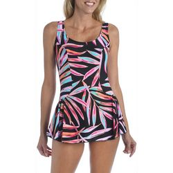 Maxine Womens Painted Palms Empire Waist Swimdress