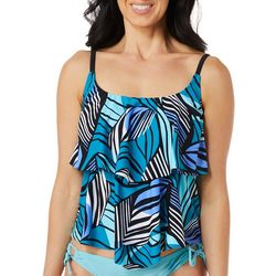 Maxine Of Hollywood Womens Zebra Leaf Tiered Tankini Top