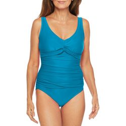 Maxine Womens Solid Tricot Twist Front One Piece Swimsuit