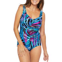 Maxine Womens Jungle Party Girl Leg One Piece Swimsuit