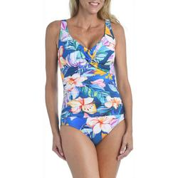 Maxine Womens Maui Twist Front Girl Leg One Piece Swimsuit