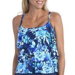 Maxine Womens Floral  Print Tiered Tankini Top