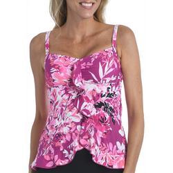 Womens Rose Ruffled Tankini Swimsuit