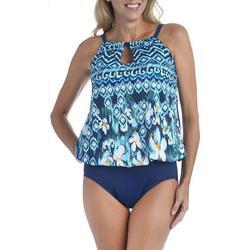 Womens Ikat Floral Faux Tankini Swimsuit