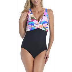 Maxine Womens Petal Twist One Piece Swimsuit
