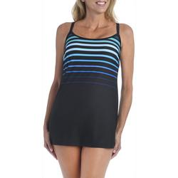 Maxine Womens Gradient Stripe Cross Back Swimdress