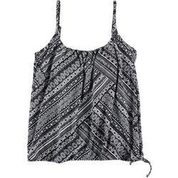 Womens Diagonal Stripe Blouson Tankini Top