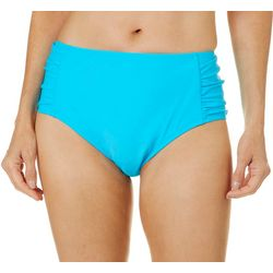 Womens Solid High Waist Shirred Swim Bottoms