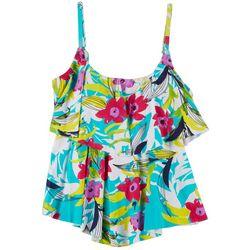 Ocean Avenue Womens Floral Ruffle Tankini Top
