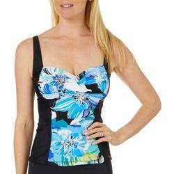 Maxine Womens Retro Floral Colorblock Tankini Top
