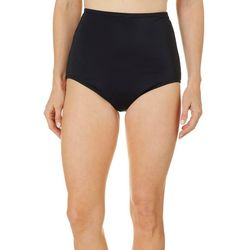 Maxine Womens Solid High Waist Hipster Swim Bottoms