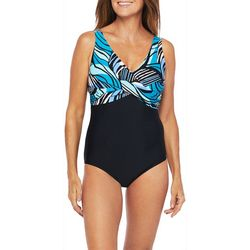 Maxine Womens Zebra Leaf Drape Front Mio One Piece Swimsuit