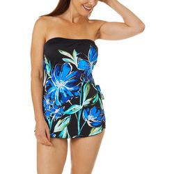 Maxine Womens In Cool Bloom Floral Sarong Swimdress