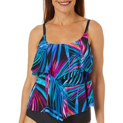 Maxine Womens Jungle Party Print Tiered Tankini Top