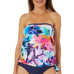 Maxine Womens Garden Party Blouson Tankini Top