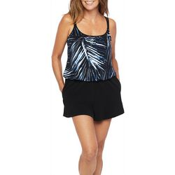 Maxine Womens Moonlight Palms Romper Swimsuit