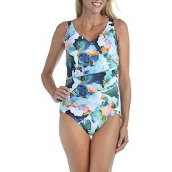 Maxine Womens Marble Surplice Girl Leg Swimsuit