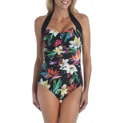 Maxine Womens Paradise Halter One Piece Girl Leg Swimsuit