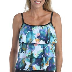 Maxine Womens Marble Tiered Tankini Swimsuit
