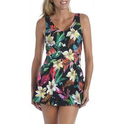 Maxine Of Hollywood Womens Paradise Tropical Print Swimdress